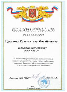 """Благодарность ООО """"Экология"""""""